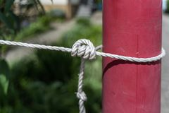 Knot with a white cord around a lamppost royalty free stock photo
