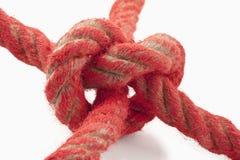 Knoten in einem roten Seil Lizenzfreie Stockfotografie