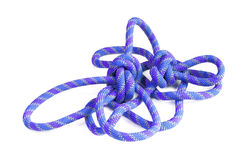 Knots. From a multi-coloured cord on a white background Royalty Free Stock Photo