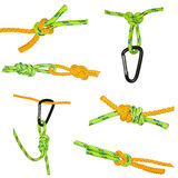 Knots and carabiners, set Stock Image