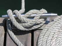 Knots, cleats and ropes. Nautical rope Royalty Free Stock Image