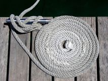 Knots, cleats and ropes. Nautical rope Stock Images