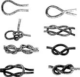 Knots. Collection of rope knots Royalty Free Stock Photos