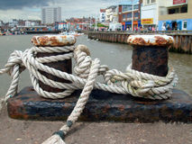 Knots in harbor. Close up of some sailors knots on quayside in Bridlington Harbor, England Stock Photo