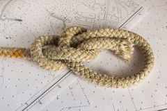 Knots Nautical. Nautical knots photographed on chart stock photos