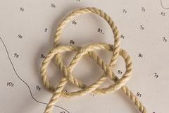 Knots Nautical. Nautical knots photographed on chart royalty free stock images