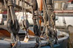 Knots on ship. Ship in harbour Royalty Free Stock Photos