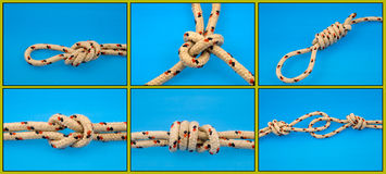 Knots tied on blue Royalty Free Stock Photography