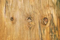 Knots in weathered plywood. Old plywood, weathered and water-stained, with three knots Stock Photos