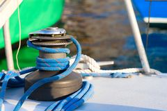 Knotted. Sailing background. Yacht rigging. Knotted jetty Royalty Free Stock Photo