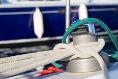 Knotted. Sailing background. Yacht rigging. Knotted jetty Royalty Free Stock Photography