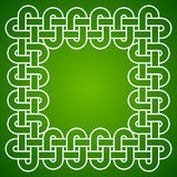 Knotted frame, white on green background, vector illustration Stock Photography