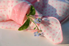 Knotted handkerchief with myosotis Stock Images