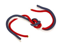 Knotted red white and blue rope Royalty Free Stock Image