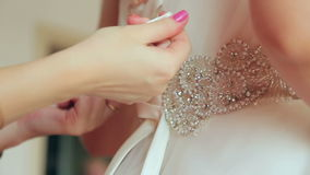 Knotted ribbon bridesmaid dress stock video footage
