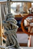 Knotted rope on yacht Royalty Free Stock Photography
