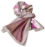 Knotted sewing silk scarf with pink batik pattern Stock Photos