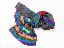 Knotted stitched patchwork scarf from silk strip Royalty Free Stock Image