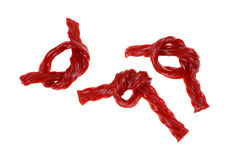 Knotted Twisted Cherry Licorice Sticks Royalty Free Stock Photography