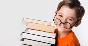 Know-all. Portrait of cute boy wearing circle glasses and holding books while looking at camera Royalty Free Stock Image