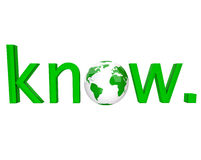 Know - Green Word and Earth Stock Images