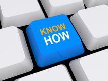 Know how button. 3d illustration of know how button on computer keyboard Stock Image
