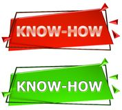 Know how sign. Know how modern 3d sign isolated on white background,color red and green Royalty Free Stock Photos