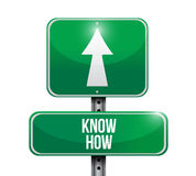 Know how road sign illustration design. Over a white background Stock Photos