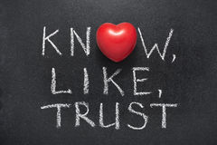 Know,like,trust heart. Know,like,trust phrase handwritten on blackboard with heart symbol instead of O Royalty Free Stock Photography