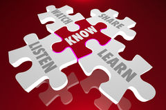 Know Puzzle Pieces Listen Share Education Stock Photography