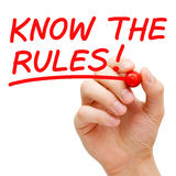 Know The Rules. Hand writing Know The Rules with red marker on transparent wipe board