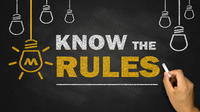 Know the rules. On blackboard Royalty Free Stock Photos