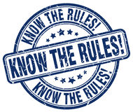 Know the rules! blue grunge round rubber stamp. Know the rules! blue grunge round vintage rubber stamp Royalty Free Stock Photography