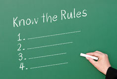 Know the Rules Compliance Chalkboard. Female hand holding chalk and writing on board the words Know the Rules with a numbered checklist Stock Photo