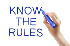 Know The Rules. Hand writing Know The Rules with blue marker on transparent wipe board Royalty Free Stock Photography