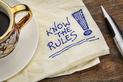 Know the rules. Reminder - a napkin doodle with a cup of espresso coffee Stock Photos