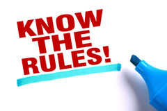 Know the rules. Text and blue line with blue marker aside is on white paper Royalty Free Stock Photos