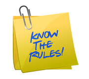 Know the rules written on a post it note. Illustration design Royalty Free Stock Photos