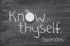 Know thyself Socrates watch stock photography