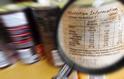 Know what you eat concept. A conceptual photograph showing the nutrition information on a tinned can of food, listing out the various nutritional factors and royalty free stock photography