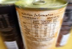 Nutrition information - Know what you eat!. A conceptual photograph showing the nutrition information on a tinned can of food, listing out the various stock photos
