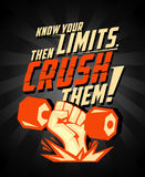 Know your limits, then crush them, quote vector card. Stock Photo