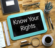 Know Your Rights on Small Chalkboard. 3D. Stock Image
