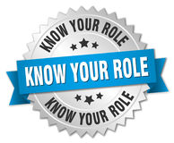Know your role round silver badge Stock Photography