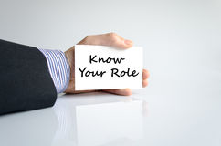 Know your role text concept Stock Photo