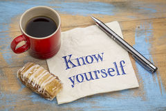 Know yourself concept on napkin with coffee Stock Photos