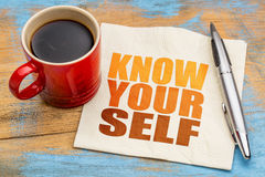 Know yourself concept on napkin Royalty Free Stock Photo