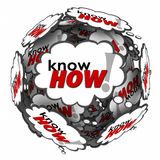 Knowhow Word 3d Thought Clouds Bubbles Learn Skills Information. Knowhow word in many thought clouds or bubbles in a ball or sphere to illustrate your knowledge stock illustration