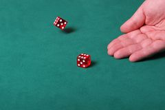 Knowing when to stop. Dices being thrown in a craps game, or yatzee or any kind of dice involved game, Dices are a clear red color on a green felt table Royalty Free Stock Photography