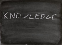 Knowledge. The word knowledge written in chalk on a blackboard Stock Image